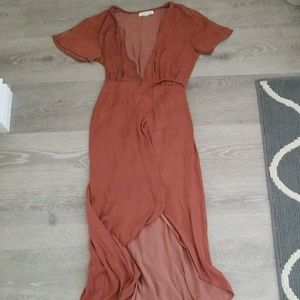 Honey punch silk textured wrap dress